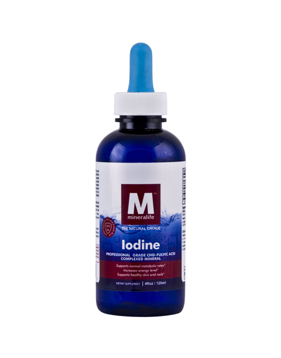 Iodine Professional Grade CHD Fulvic Acid Complexed Mineral Concentrate Dietary Supplement Bottle Shot