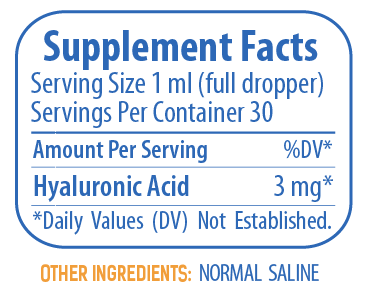 Hyalogic's Synthovial Seven Pure Hyaluronic Acid Supplement Facts